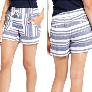 Athleta | Blue Cabo Linen Striped Shorts